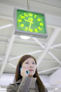 Woman and clock.