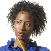 Writers blue woman thinking